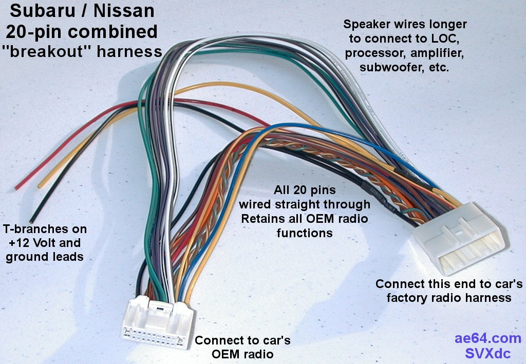 or you can get this - 20-pin combined wiring harness for subaru impreza,  forester, crosstrek, legacy, outback, nissans