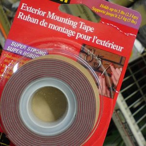 "This tape was used to replace the weaker stuff pre-installed by Sirius on the mounting arm. 3M two sided ""exterior mounting tape"" 5lb rating"